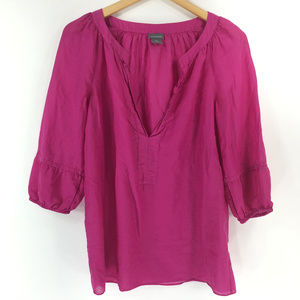 Ann Taylor M Pink Sheer V Neck Blouse Silk Blend